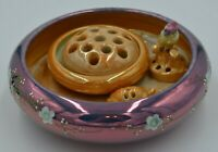 """Vintage Hand Painted Lustreware """"Two"""" Frog Bowls and Frogs-Bird-Turtle-Stone"""