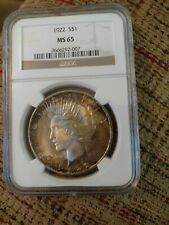 1922 NGC MS65 Colorful Toned Peace Dollar