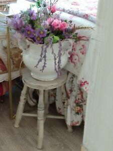 """Antique French white painted  cottage barn wooden stool 17"""" tall round OOAK"""