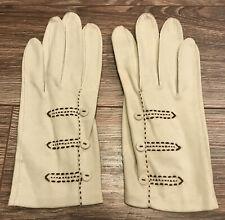 Beautiful Pair of Vintage Grandoe Ladies Gloves Fancy ~ Size 7 1/2 100% Cotton