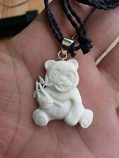 Pendant w/ Sterling Silver Bale Necklace Panda Bamboo Buffalo Bone Hand Carving