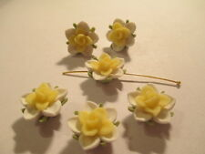 50  Yellow and White Water Lilly  15mm Fimo Flower Beads   YWL