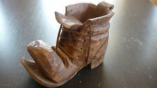 Carved Wood Wooden Treen Old Boot / Fine Detail Folk Art / Signed Ma Mcmillan