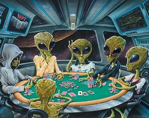 Dogs Playing Poker Aliens Poster Art Print 11x14 Area 51 Space Star Wars Vegas