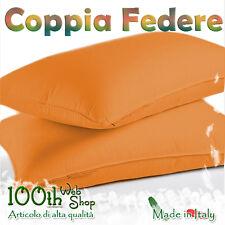 COPPIA FEDERE 52X82 100% COTONE ARANCIONE ARANCIO FEDERA GUANCIALE CPFDARANC