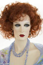Bright Red Medium Length Wavy Curly Wigs
