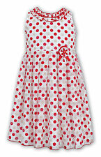 DESIGNER SARAH LOUISE GIRLS RED & IVORY POLKA DOT PARTY DRESS AGE 7 YRS BNWT