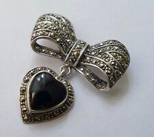Brosche Onyx Herz mit Markasiten 925 Silber Vintage 80er brooch silver