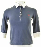 FRED PERRY Womens Polo Shirt 3/4 Sleeve Size 10 Small Blue Cotton  KK04