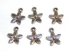6 Silver Flower Charms 10mm Nature Floral Pendants Jewelry SC-56