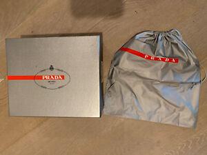 """Authentic Prada Paper Silver EMPTY Shoe Box W/Dusty Bag 12"""" x 10"""" x 4.5"""""""