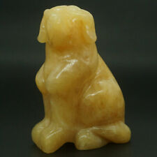 "Dog Statue 4"" Natural Stone Yellow Jade Carved Animal Figurine Decor 3502"