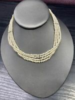 """Vintage White Faux 4 Strand  Pearl Beaded Choker Necklace 14-16"""" Hook Clasp"""