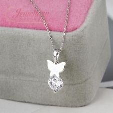 Platinum Plated Butterfly Necklace with Cubic Zirconia NL037