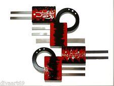 Fire Red Modern Abstract Art Wood w/ Metal Wall Sculpture Hanging by DivaArt69