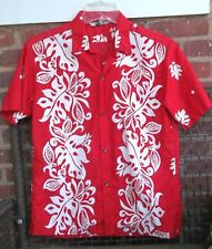 Vintage Malihini Red Hawaiian Shirt Monstera Leaves Metal Buttons