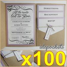 100 X KRAFT WEDDING POCKET INVITATIONS DIY POCKETFOLD ENVELOPES BROWN INVITE