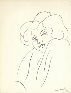 "1943 MATISSE Lithograph ""Expression-2 1941"" ""Hommage Portfolio No. 177"" of 1000"