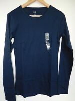 NWT GAP Women's Favorite Fitted LS Crew T-Shirt Navy Blue XS S M L XL 2XL New