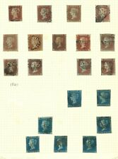 Lot:36393  GB QV  1841 2d Blue SG13 selection  1841 1d red plate selection
