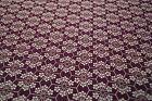 Japanese Woollen Fabric Purple with White Geometric Design 1255