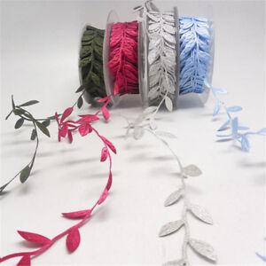 2/5Yards 2.5cm Satin Leaf Leaves Vine Garland Sewing Ribbon Lace Trim DIY Craft