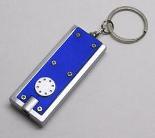 LED Button Press Blue FLASH LIGHT Flashlight KEY CHAIN Ring Keychain NEW