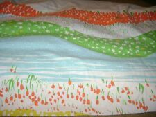Queen Size Fitted Sheet...Vintage..Blue/Green/Yellow/Orange Floral Water