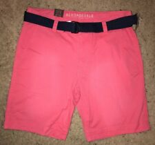 NWT AEROPOSTALE MEN'S WEB BELTED FLAT FRONT SHORTS ~34~LIGHT RED~CLASSIC LENGTH
