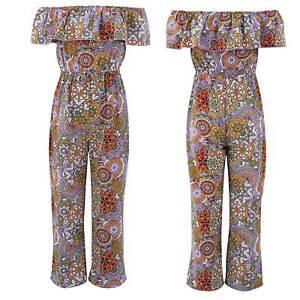 Girls Off Shoulder Ruffle Flower Printed Jumpsuit Wide Leg Loose Romper Bodysuit