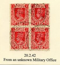 BURMA EXPERIMENTAL P.O R19 FIELD POST OFFICE 1942 BLOCK of 4