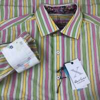 Brand New! Robert Graham Button Up Shirt Mens Medium Green Striped Flip Cuffs