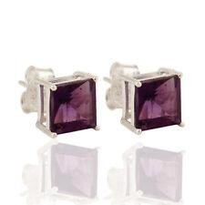 Amethyst Princess-Cut Stud Earrings 925 Silver Womens Gemstone Jewelry