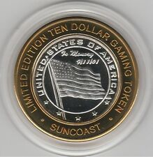 2002 Suncoast Vegas In Memory 9/11/01 USA Flag .999 Fine Silver $10 Casino Token