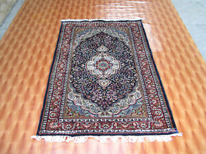 Afghan Hand knotted Area Rug Silk Blue Color Traditional Living Room Rug 3'x5'