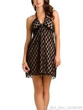 NWT Guess Womens Jr Black Beige Halter Top Polka Dot Cocktail Party Dress Small