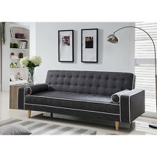 Futon Sofa Bed Modern Couch Mattress Convertible Tufted Lounger Sleeper Gray New