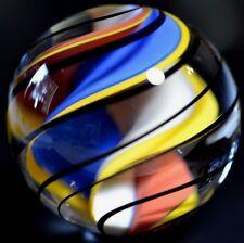 """HANDMADE GLASS MARBLE/1.772""""-MONSTER CORKSCREW-BLUE,GOLDENROD,MOCHA, & PERSIMMON"""