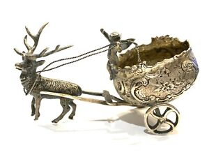 Antique German Sterling Silver 800 Sleigh with Cherub Pulled By Reindeer