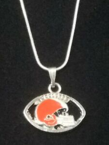 Cleveland Browns Necklace Pendant Sterling Silver Chain NFL Football