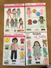 """Four New Simplicity Crafts Patterns 18"""" Doll Clothes"""