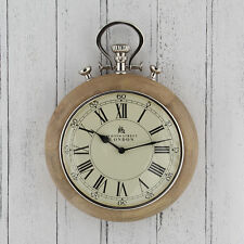 Nickel & Wood Stopwatch Wall Clock Bond St London High Quality & Unique 43cm