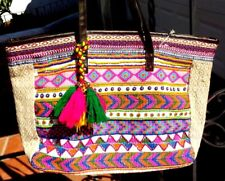 MULTI COLORED VINTAGE FABRIC HAND BAG PURSE W/ BEADED TASSELS W/ FREE SHIPPING