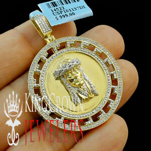 Mens Ladies 10k Yellow Gold Tone Sterling Silver Genuine Real Diamond Jesus Head