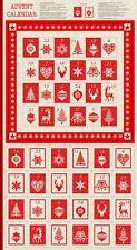 Scandinavian Christmas Advent Calendar Cotton Quilting Panel Fabric Makower 1595