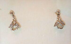 Jane Seymour Open Heart ANGEL 10k Gold & St 925 Diamond Earrings New (no tags)