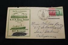 NAVAL COVER 1941 SHIP CANCEL 1ST DAY POST COMMISSION USS LONG ISL (AVG-1) (2936)