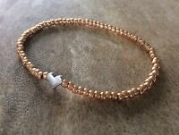 Dainty Rose Gold & Silver Seed Beaded Stacker Stretch Bracelet Heart Star Charm