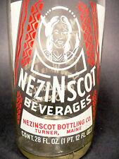 vintage ACL Soda POP Bottle:  Indian Interest NEZINSCOT of TURNER, MA - 28 oz