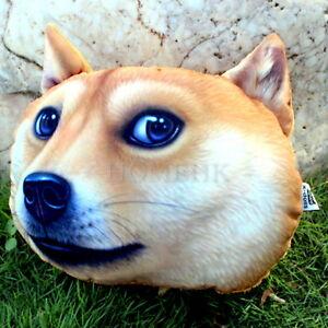 Shiba Inu Dog Doll Cushion Car Seat Head Cushion  with Plush Stuffed Curly Fur D